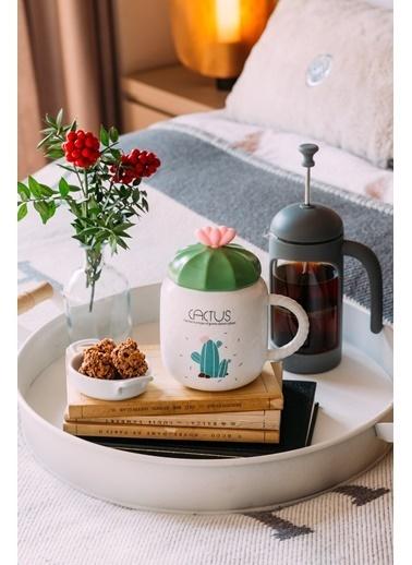 Arma House Kaşıklı Seramik Cactus Kupa Bardağı (4) Renkli